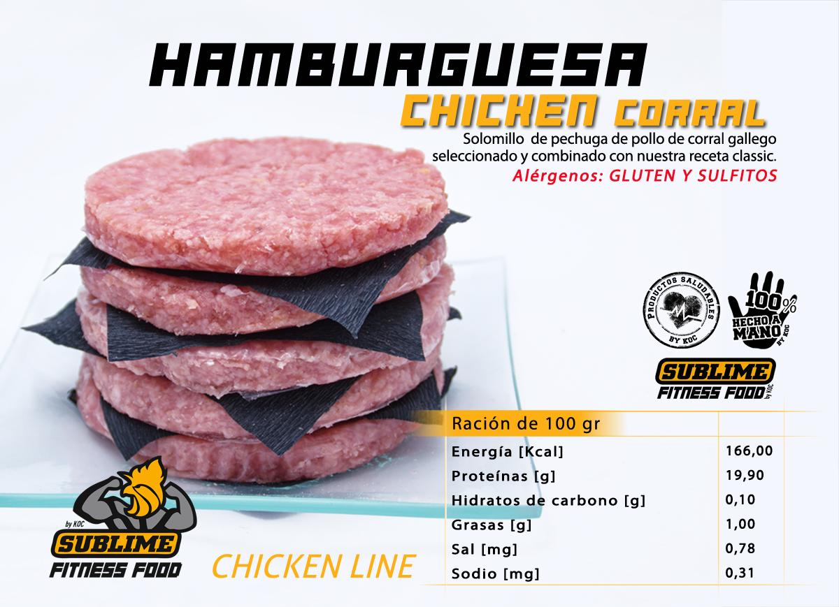 Valores nutricionales hamburguesa de pollo fitness chicken corral